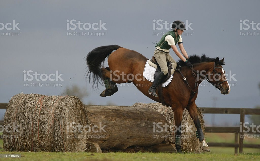 Jumping a Log stock photo