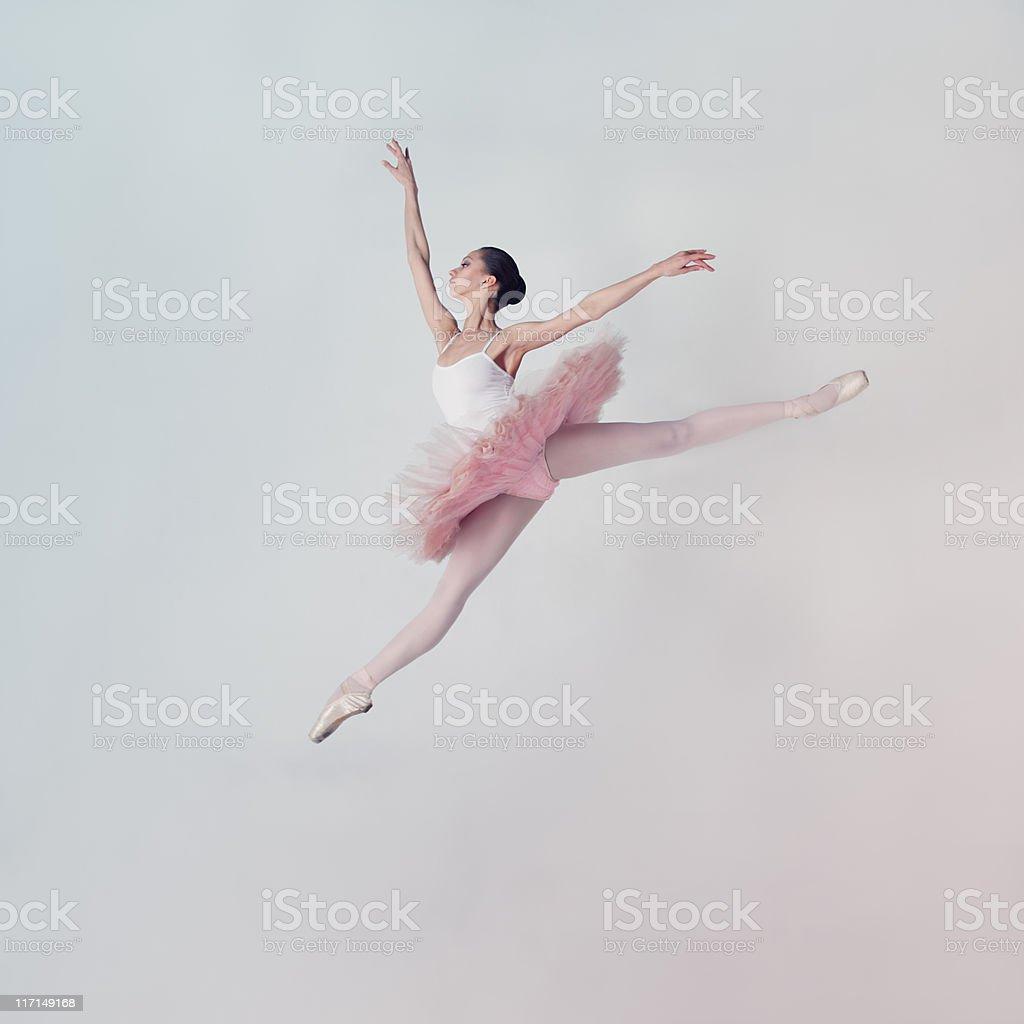 Jumping ballet dancer stock photo