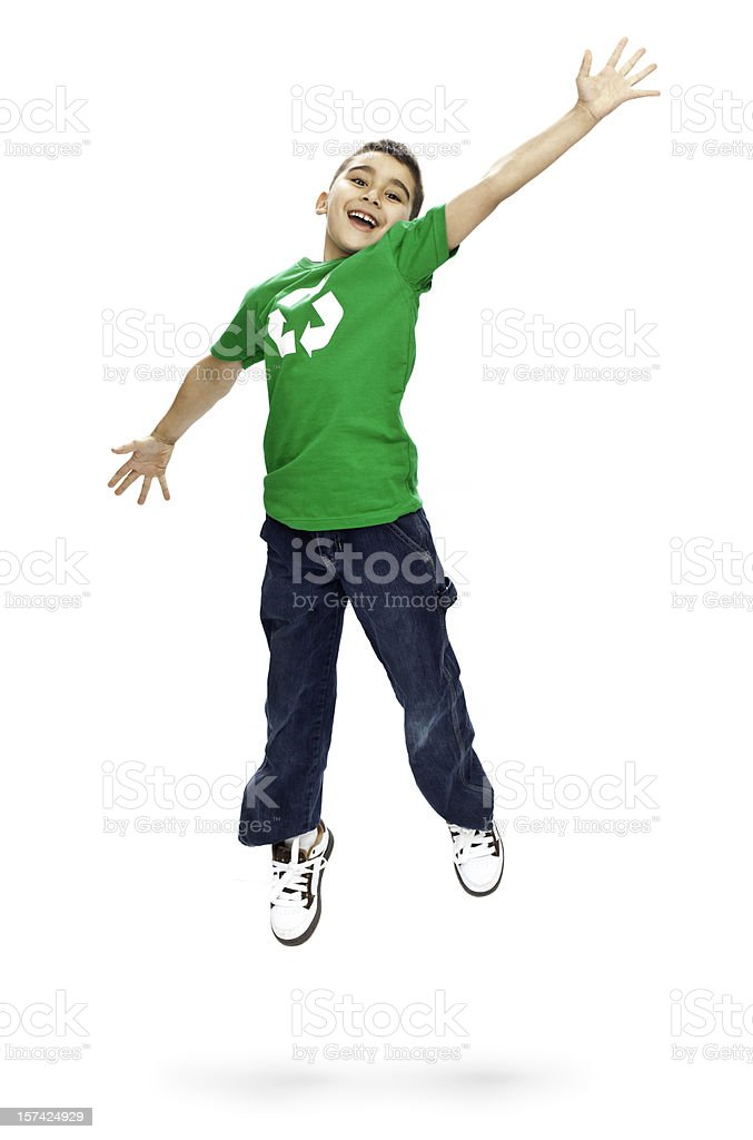 Jumping Boy with Recycle Shirt stock photo