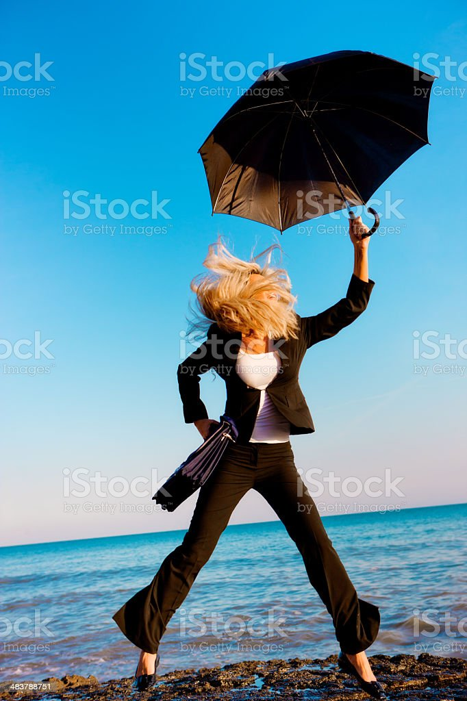 Jumping businesswoman royalty-free stock photo