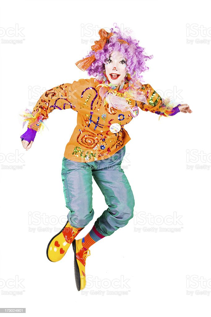 Jumping clown royalty-free stock photo