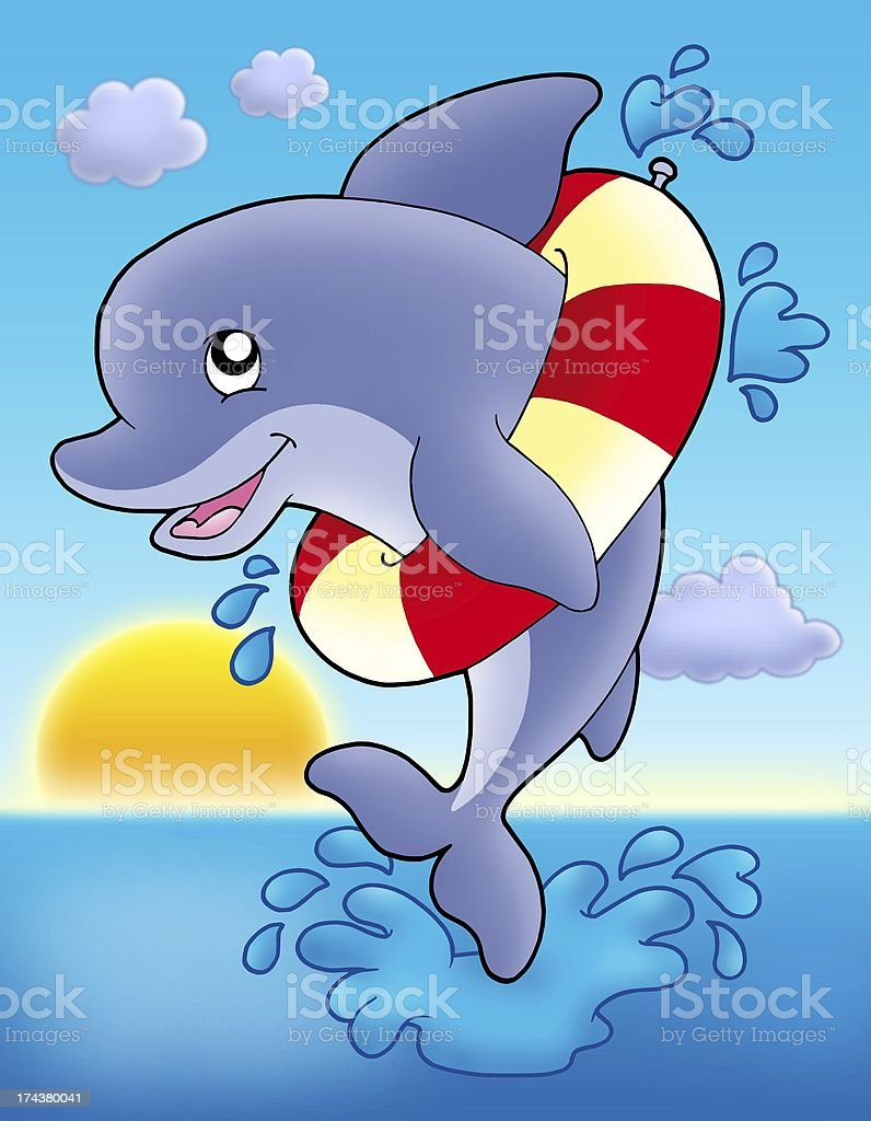 Jumping dolphin with inflatable ring royalty-free stock photo