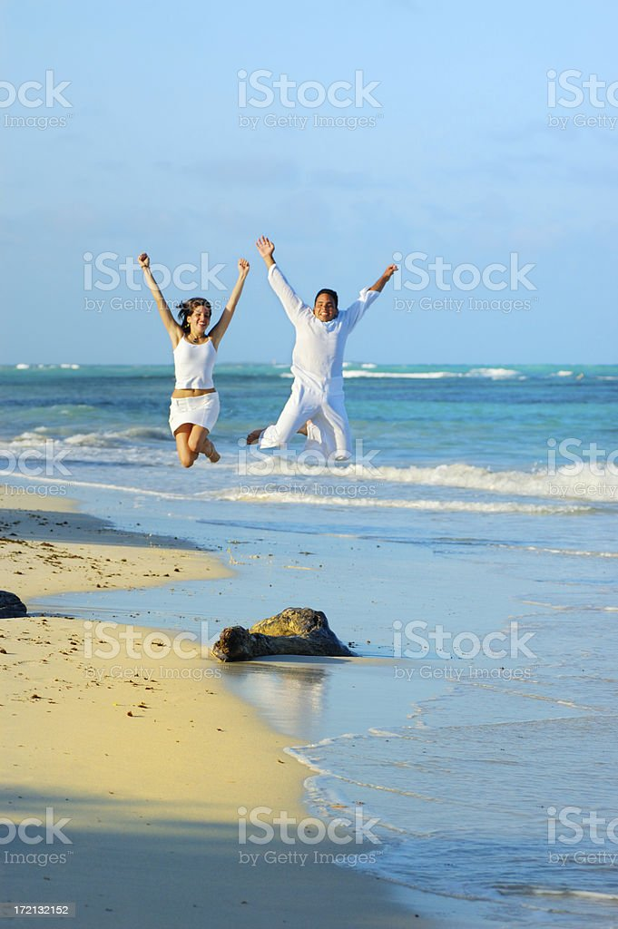 Jumping for joy royalty-free stock photo