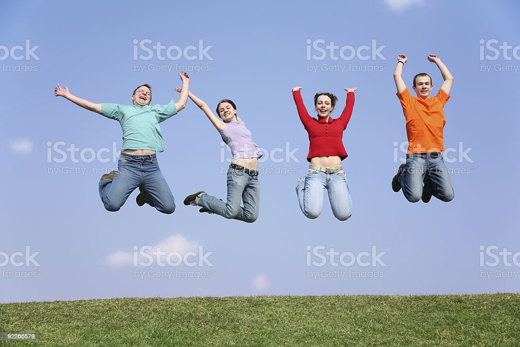jumping friends stock photo