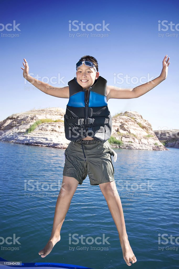 Jumping From Boat royalty-free stock photo
