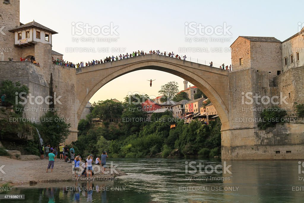 Jumping from the Old bridge, Mostar royalty-free stock photo