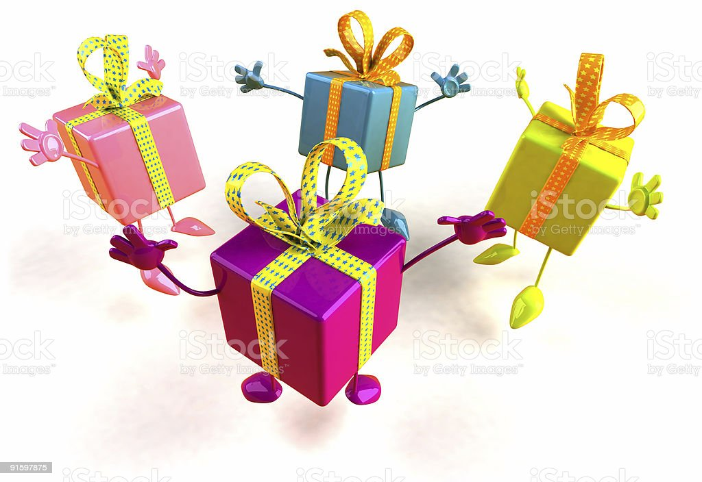 Jumping gifts royalty-free stock photo