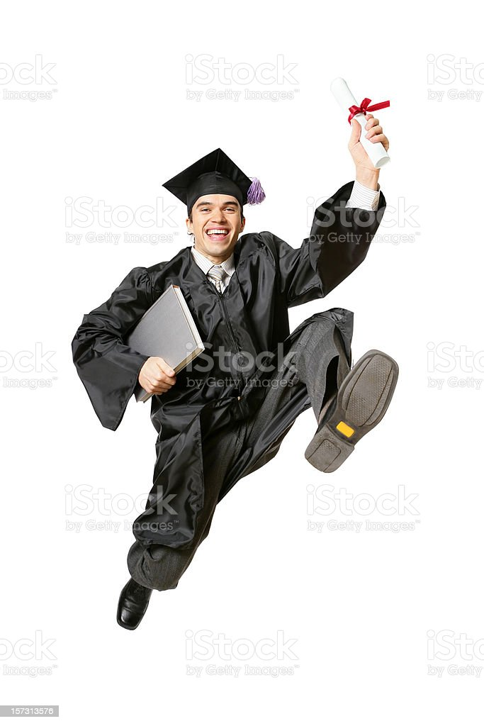 Jumping graduate (with Clipping Path) royalty-free stock photo