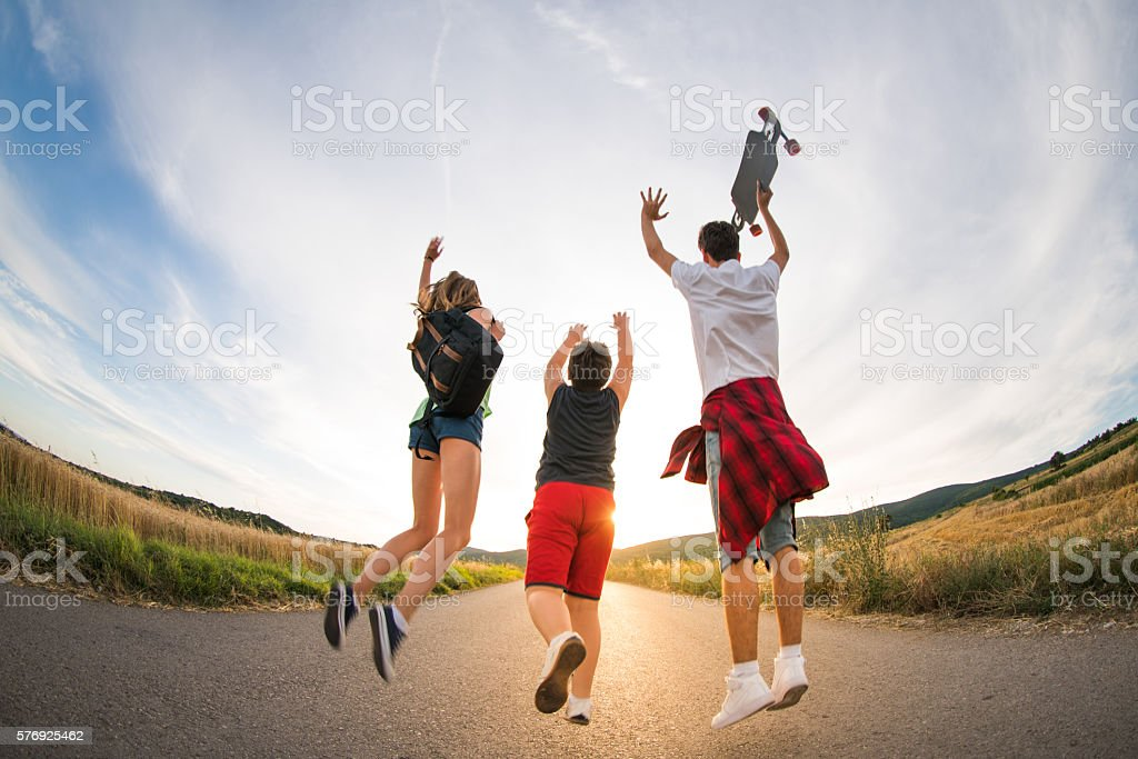 Jumping high stock photo