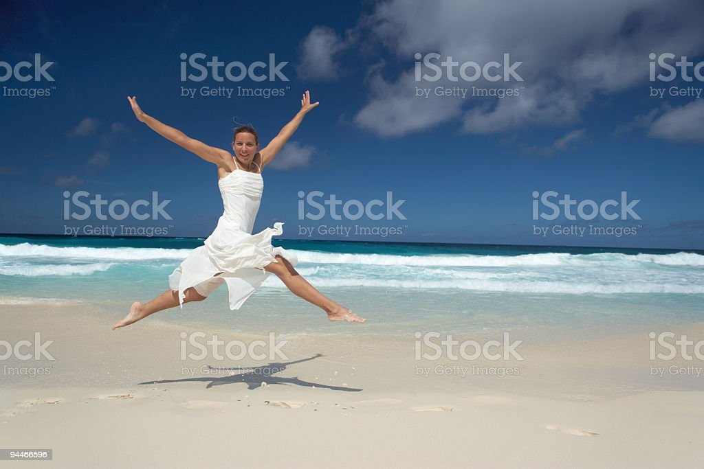jumping in nice dress royalty-free stock photo