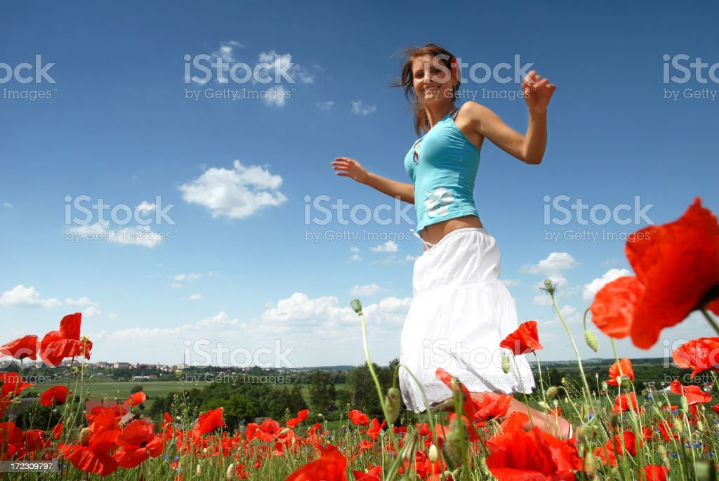 Jumping in poppies royalty-free stock photo