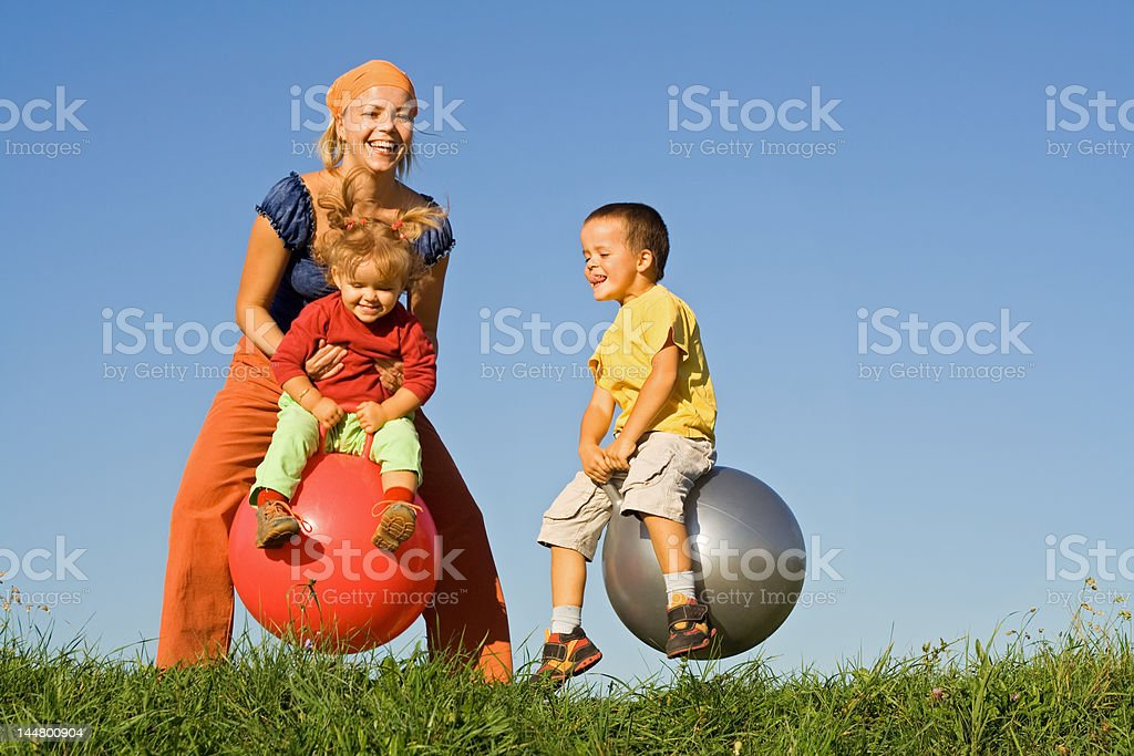 Jumping in the grass royalty-free stock photo