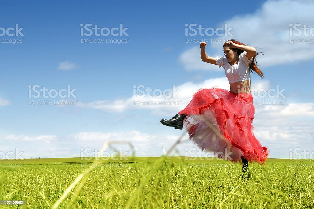 Jumping in the meadow stock photo