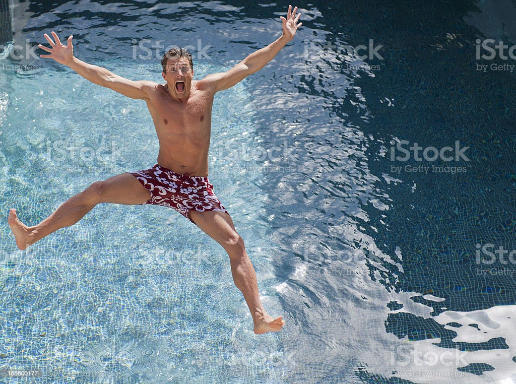 Jumping into Pool royalty-free stock photo