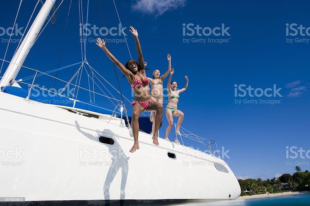 Jumping into sea royalty-free stock photo