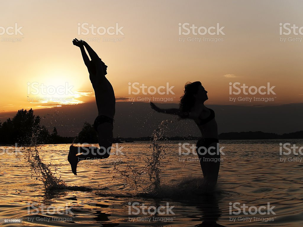 Jumping into water royalty-free stock photo