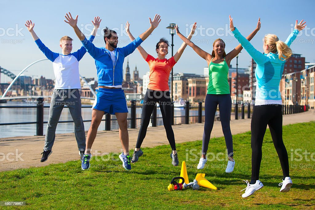 Jumping Jacks Outside stock photo