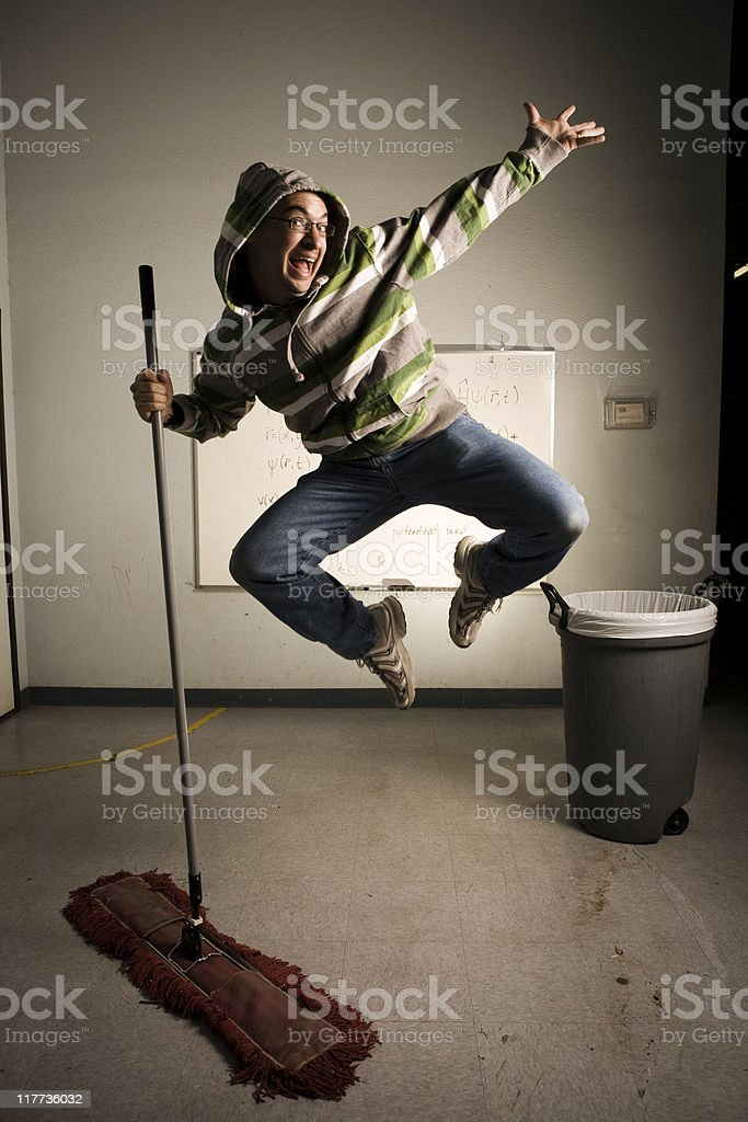 Jumping Janitor! stock photo