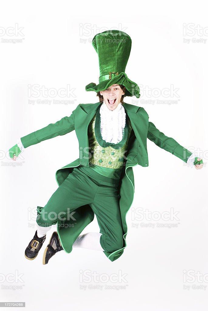 Jumping leprechaun stock photo