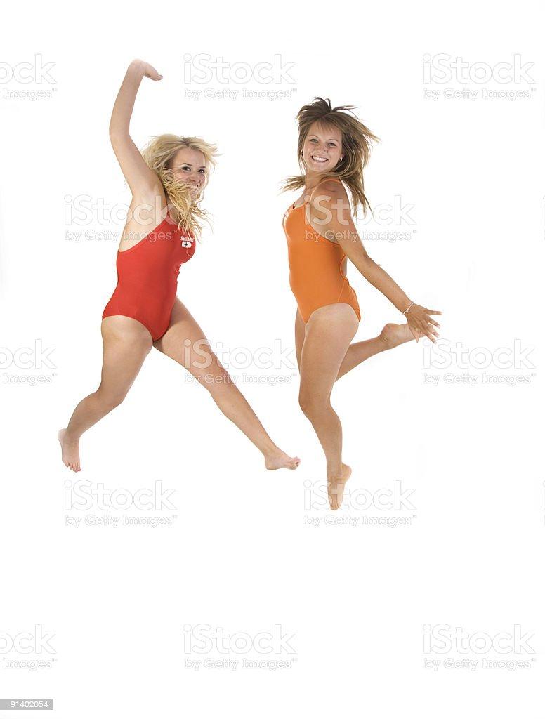 jumping lifeguards royalty-free stock photo