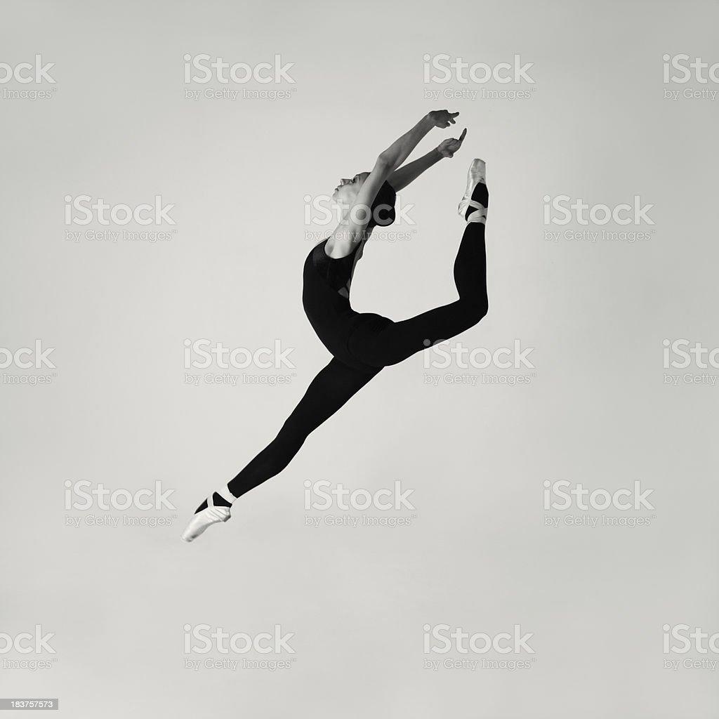 Jumping modern ballet dancer stock photo