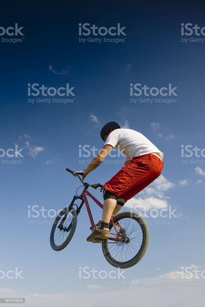 Jumping Mountain Biker royalty-free stock photo