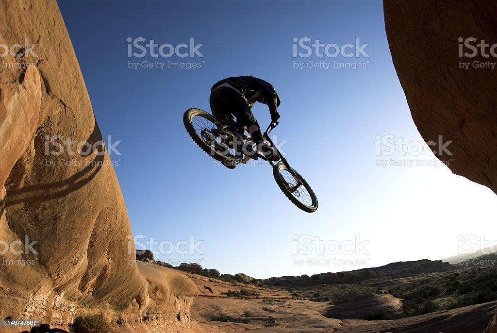 Jumping off in Moab stock photo