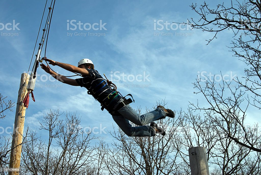 Jumping off pole royalty-free stock photo