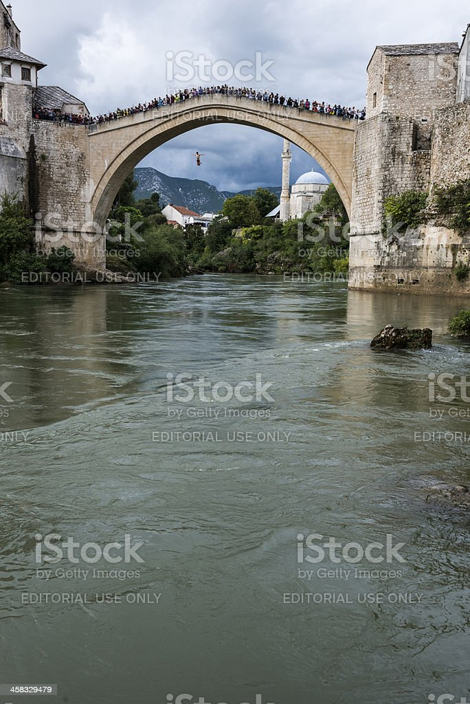 Jumping off Stari Most in Mostar royalty-free stock photo