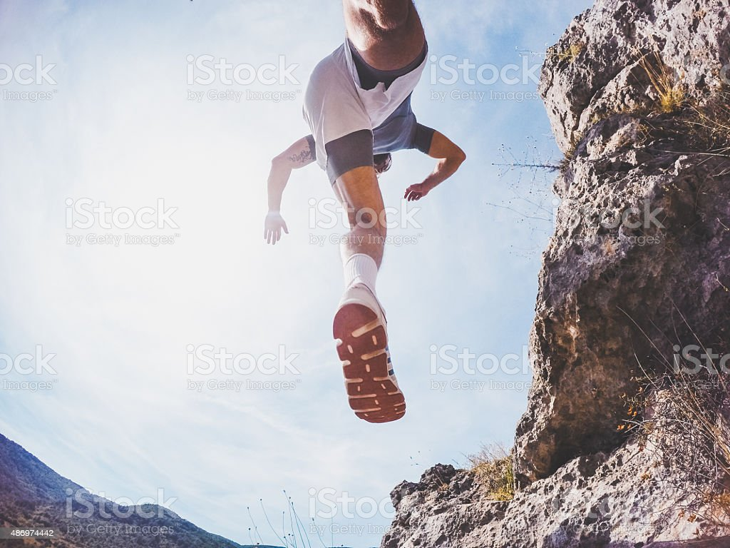 Jumping over stock photo