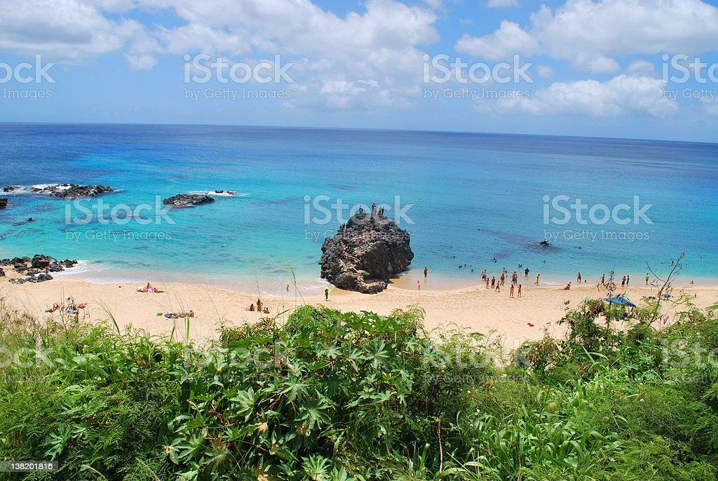 Jumping Rock at Waimea Bay, North Shore Oahu stock photo