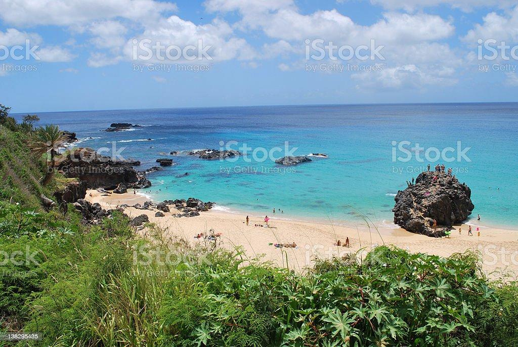 Jumping Rock at Waimea Bay, North Shore Oahu royalty-free stock photo