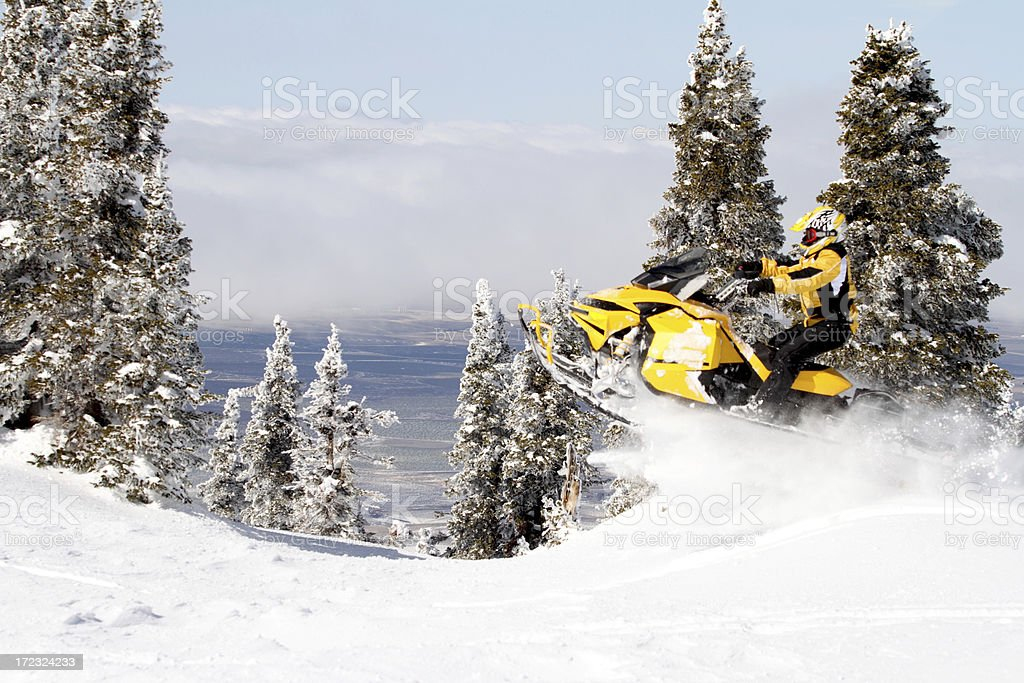 Jumping snowmobile royalty-free stock photo