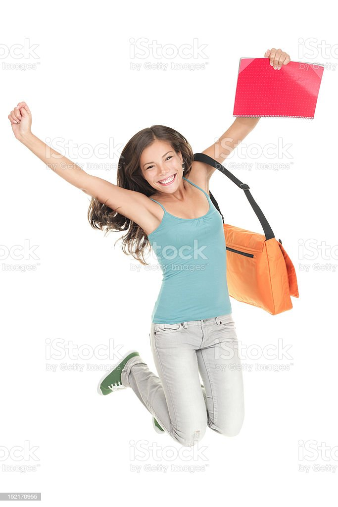 Jumping success student isolated royalty-free stock photo