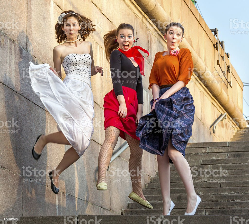 Jumping teenage girls royalty-free stock photo
