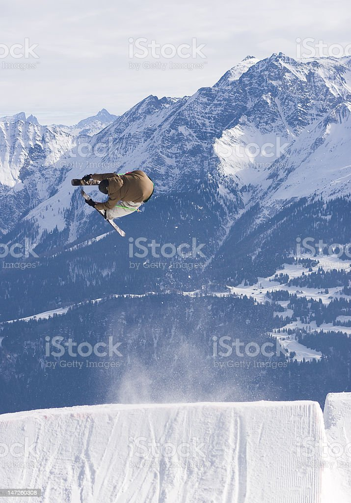 Jumping the Alps I stock photo
