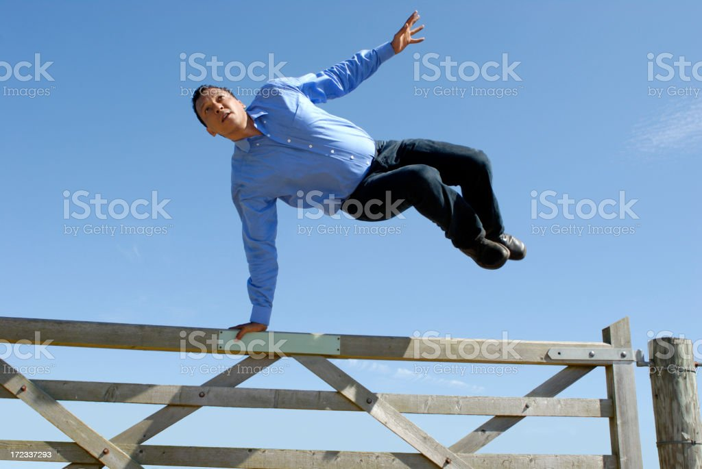 jumping the gate royalty-free stock photo