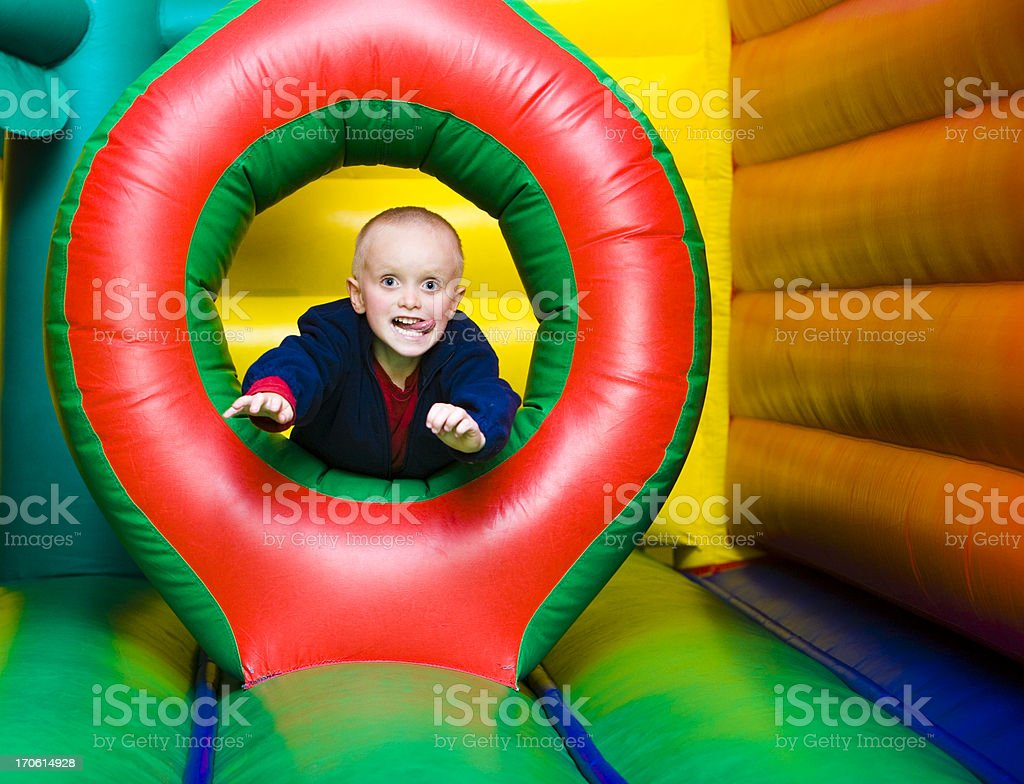 Jumping through hoop stock photo