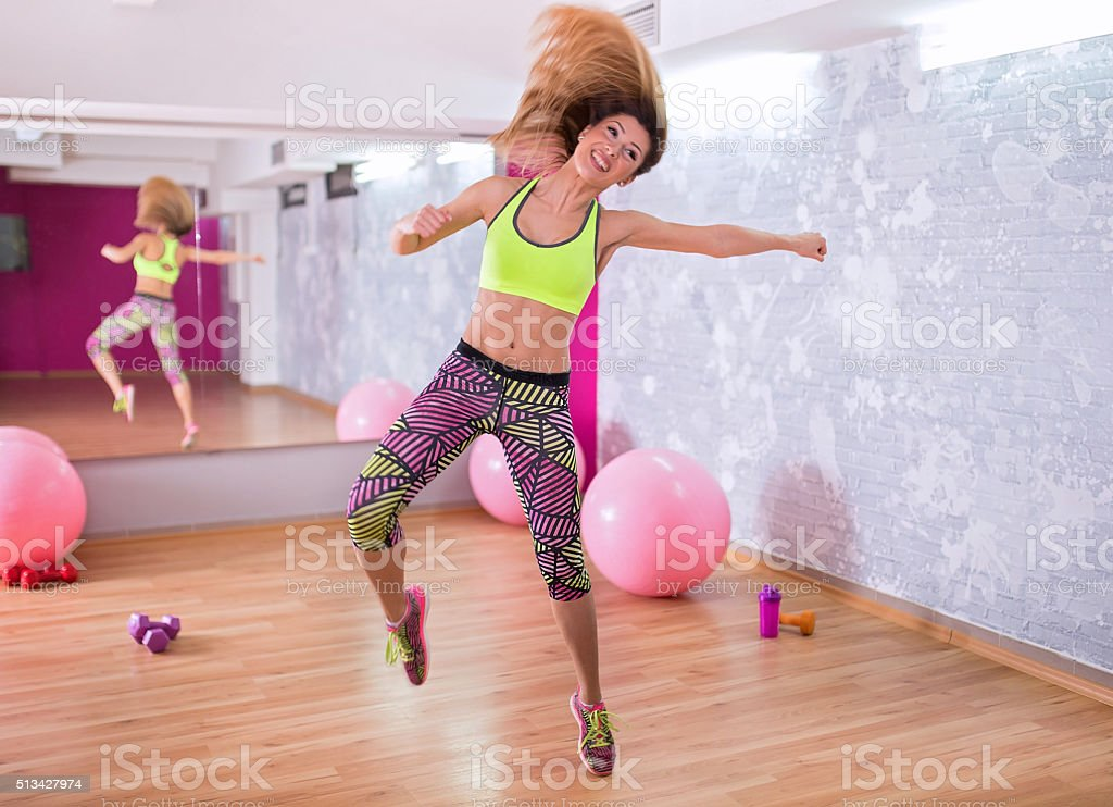 Jumping to the rhythm stock photo
