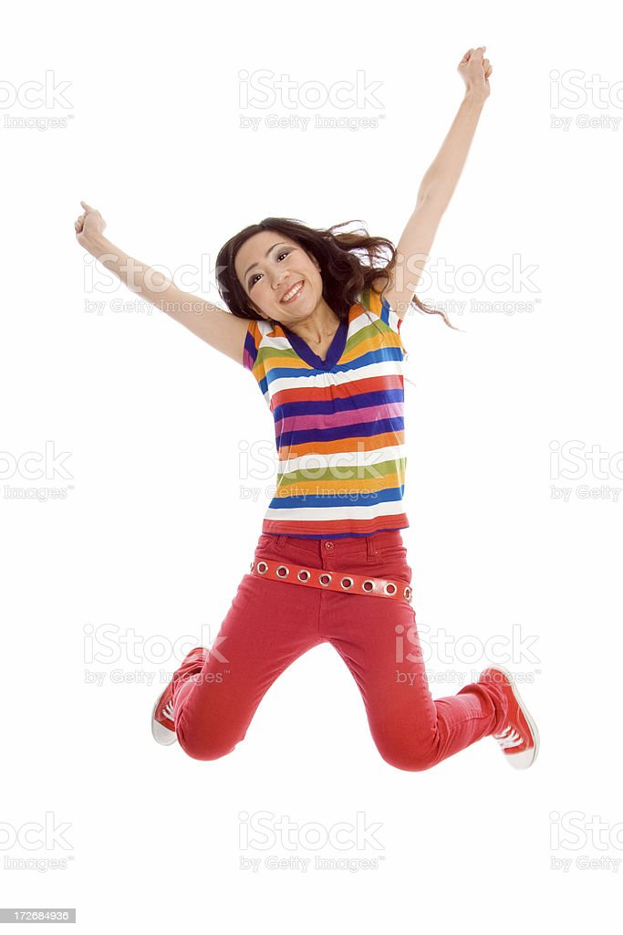 Jumping with joy royalty-free stock photo