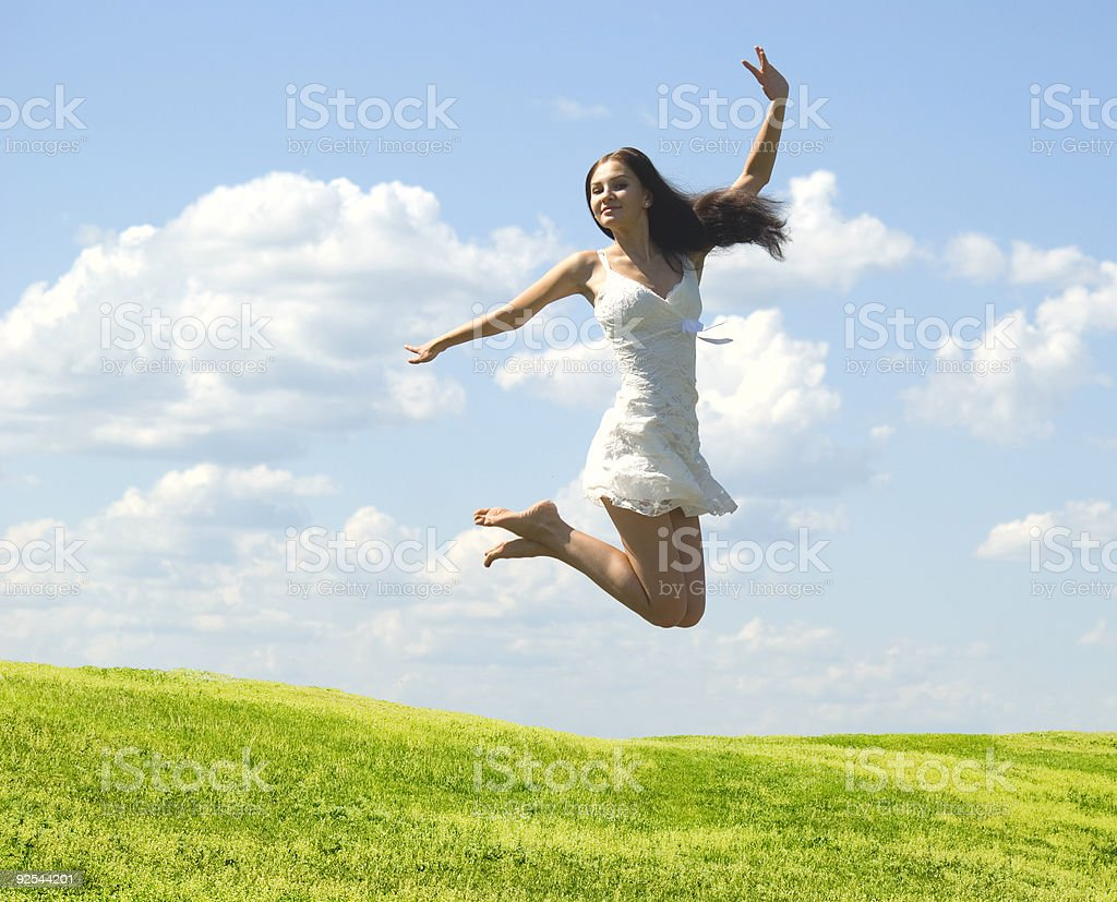 jumping woman royalty-free stock photo