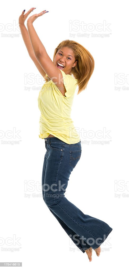 Jumping Young Woman royalty-free stock photo