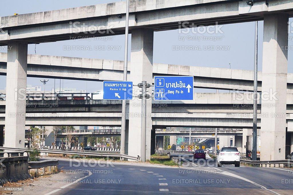 Junction below motorway 9 of Bangkok stock photo