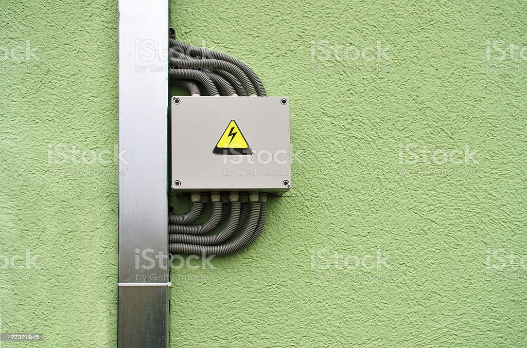 Junction box on the wall stock photo