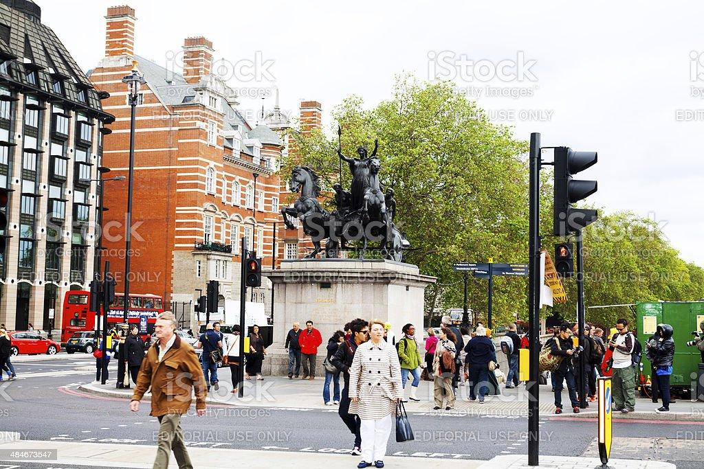 Junction of Bridge Street and Victoria Embankment stock photo