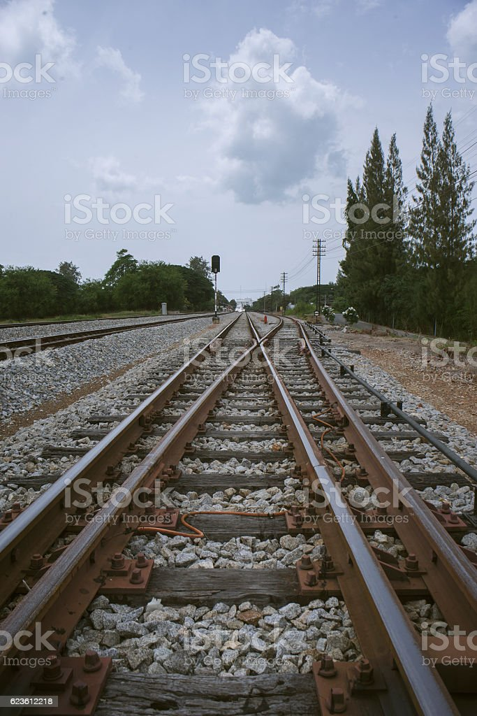 junction of railway with tree at left and right side stock photo