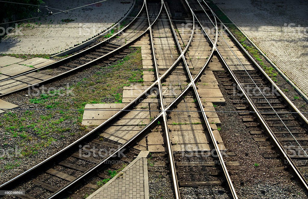 Junction of railways stock photo