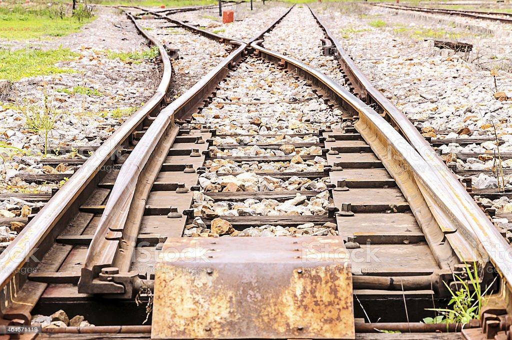 Junction railway tracks royalty-free stock photo