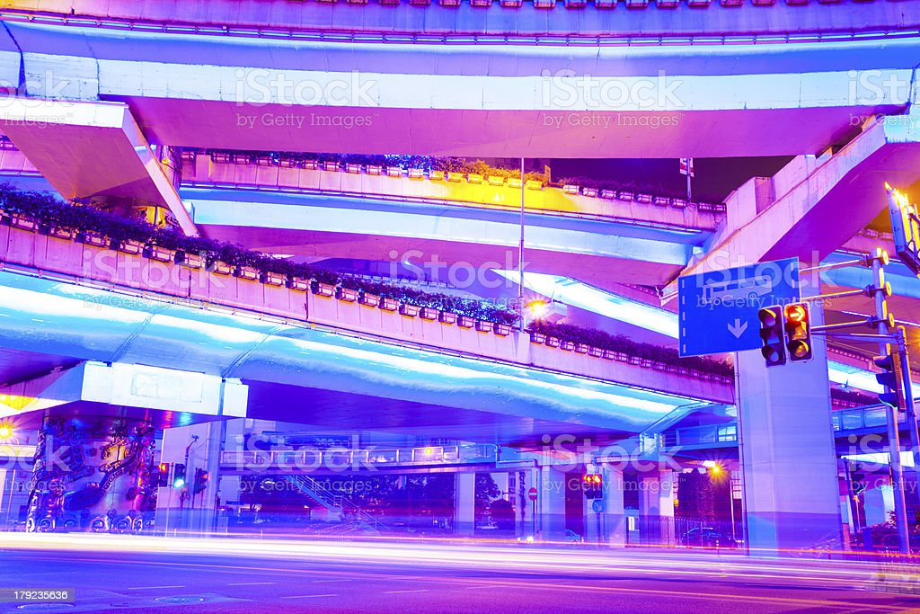 junction with light in shanghai royalty-free stock photo