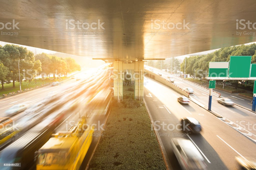 junction with light in shanghai stock photo